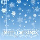 Печать. Christmas background with snowflake on blue background Stock Photography