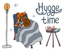 Cosy vector illustration hygge elements vector illustration