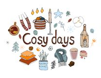 Cosy vector illustration hygge elements. Mulled wine, scarf, candles, pillows, socks, yarn, cake. Typography of cosy days. Isolated on white background royalty free illustration