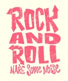 Печать grunge рок-н-ролл, дизайн векторной графики литерность печати футболки иллюстрация штока