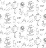 Japan doodle seamless vector pattern royalty free illustration