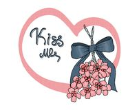 Kiss me under the mistletoe. stock illustration