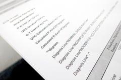 Печать Metical Diagnois пациента вне стоковое фото