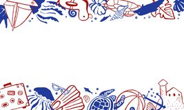 Rectangular frame template with sealife and beach objects on top and bottom. Vector outline hand drawn illustration red and blue. On white background royalty free illustration