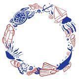 Round frame template with sealife and beach objects. Vector outline hand drawn illustration red and blue. On white background stock illustration