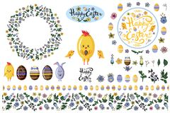 Set with  design elements isolate on white for easter and spring flyers, advertisments, announcements. vector illustration