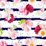 Печать striped военно-морским флотом с букетами цветков бесплатная иллюстрация