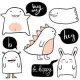 Vector cute cartoon monsters set vector illustration