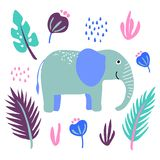 Vector elephant  wild animal plant flowers leaf stock illustration