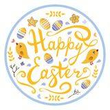Happy Easter lettering with birds,eggs, herbs and flowers in circle isolated on white background. royalty free illustration