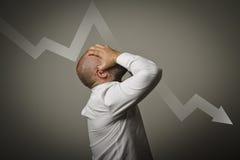 Печаль. Человек в мыслях. Концепция рецессии Стоковое Изображение RF