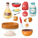 Печенье выпечки подготавливает варить иллюстрацию вектора хлебопека приготовления пищи утварей кухни ингридиентов домодельную иллюстрация вектора