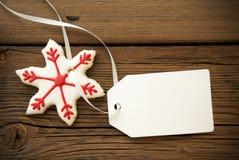 Печенье звезды рождества с пустым ярлыком Стоковое Фото
