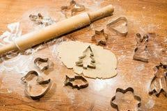 Печенье имбиря, резцы печенья, завальцовк-штырь Стоковая Фотография RF