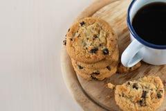 Печенье и черный кофе Стоковая Фотография