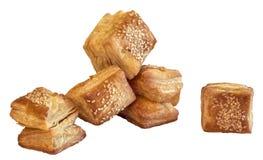 Печенье круассана слойки квадрата Zuzu изолированное на белой предпосылке Стоковая Фотография
