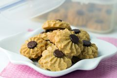 Печенье обломока шоколада масла кофе Стоковое Фото