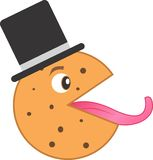 Печенье обломока шоколада с шляпой языка и бобра Иллюстрация штока