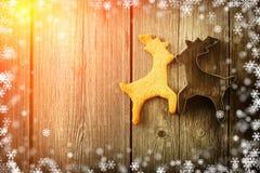 Печенье оленей gingerbread рождества домодельное Стоковое Изображение