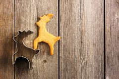 Печенье оленей gingerbread рождества домодельное Стоковые Изображения RF