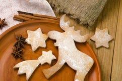 Печенье оленей пряника рождества Стоковые Изображения