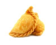 Печенье слойки карри на белой предпосылке Стоковые Фотографии RF