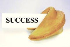 Печенье с предсказанием с листом успеха Стоковые Изображения
