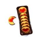 Печенье с сердцем, изолированный символ влюбленности, Стоковое Изображение RF