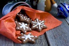 Печенье шоколада рождества формы звезды Стоковая Фотография RF