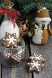 Печенье шоколада рождества формы звезды Стоковые Фото
