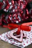 Печенье шоколада рождества формы сердца Стоковые Изображения