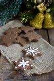 Печенье gingerbread шоколада рождества формы звезды Стоковое Изображение RF