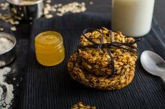Печенья банана с хлопьями и медом Стоковое Изображение