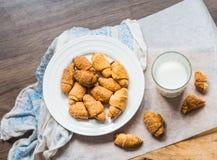 Печенья бейгл сыра от короткого печенья свертывают, доят, десерт Стоковое Изображение
