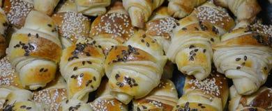 Печенья взбрызнутые с семенами льна и сезама Стоковая Фотография