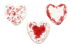 Печенья в форме сердца с замораживать, день валентинок Стоковые Фото