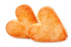 2 печенья в форме сердца на белой предпосылке Стоковые Фотографии RF