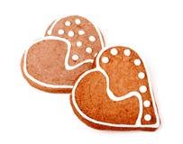 2 печенья в форме сердца на белой предпосылке Стоковая Фотография
