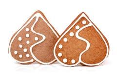 2 печенья в форме сердца на белой предпосылке Стоковое фото RF