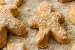Печенья в форме людей, животных и снежинок на листе выпечки Стоковое Фото