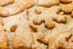 Печенья в форме людей, животных и снежинок на листе выпечки Стоковое фото RF