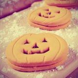 Печенья в форме vignetted Джек-o-фонариков, Стоковые Фото