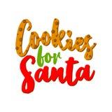 Печенья для фраза каллиграфии Санта - Санта для рождества иллюстрация штока