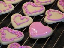 Печенья дня валентинок сердца Стоковые Фотографии RF