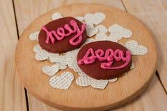Печенья заморозили с розовым показом сливк hey сексуальным Стоковые Изображения RF