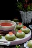 Печенья зеленого чая с белыми шоколадом и студнем Стоковое Изображение RF