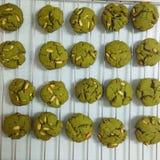 Печенья зеленого чая с миндалиной Стоковая Фотография