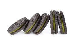 Печенья зеленого чая Matcha на белизне Стоковые Фото