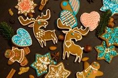 Печенья имбиря в форме лосей Стоковые Фото