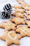 Печенья имбиря рождества заморозили с 'с Рождеством Христовым' связанные с s стоковое изображение rf
